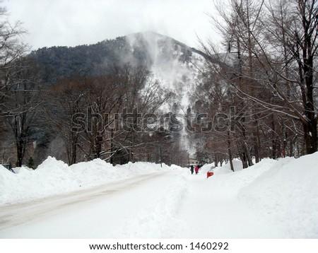 Heavy snowfall - Nikko, Japan - stock photo