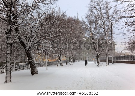 Heavy snowing on one of the Moscow's Boulevards. Russia. - stock photo