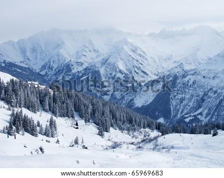 Heavy snowstorm in the swiss alps (Elm, Glarus, Switzerland) - stock photo