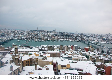 Heavy Snowy Days in Galata Bridge Istanbul Turkey.