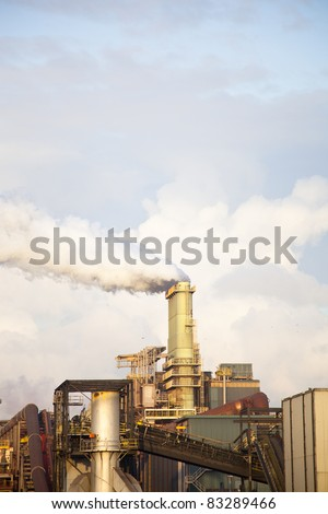 Heavy steel industry at huge steel factory