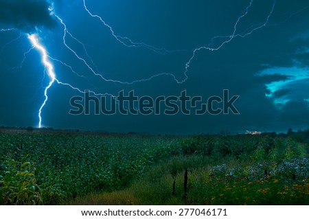 Heavy thunderstorm rolling through a cornfield in sweden. - stock photo