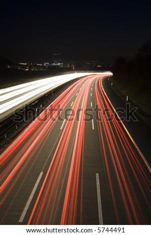 Heavy traffic on the freeway at night, Bern, Switzerland, Europe - stock photo