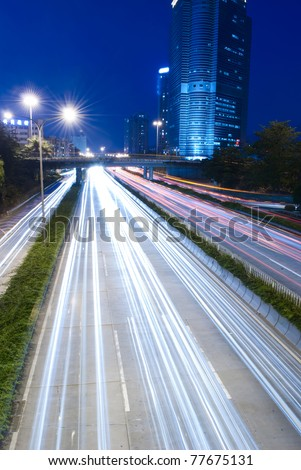 Heavy traffic through the city now - stock photo