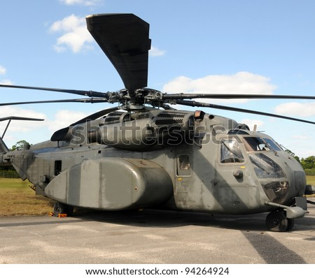 Heavy transport helicopter used by the navy - stock photo