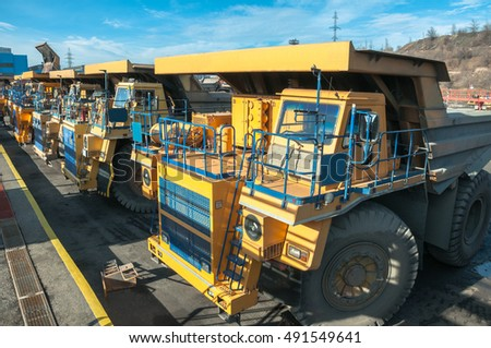 heavy trucks at repair station