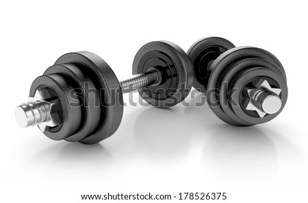 heavy weights isolated on white background. 3d illustration
