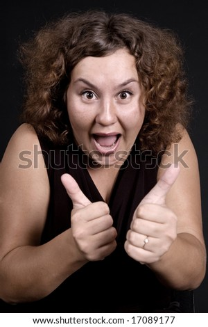 heavy woman showing double thumbs up - stock photo