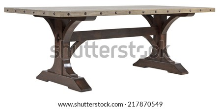 Heavy wooden vintage dining table - stock photo