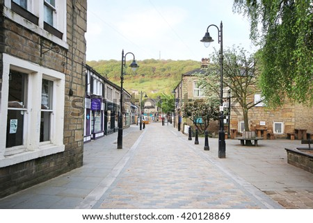 HEBDEN BRIDGE, UK - MAY 11, 2016: Pdestrianised street, Hebden Bridge. Hebden Bridge is a market town in the Upper Calder Valley, West Yorkshire - stock photo