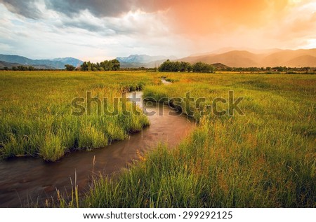 Heber valley sunset, Utah, USA.  - stock photo