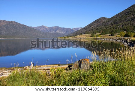 Hebgen lake in Montana close to Yellowstone national park - stock photo