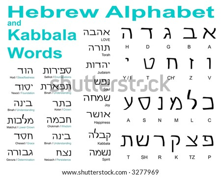 Hebrew alphabet and Kabbala words - See my gallery for more great images and vectors! - stock photo