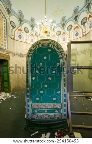 HEBRON, ISRAEL, 10 OCT, 2014: The tomb of patriarch Abraham. The tombs of the patriarchs are situated in the Cave of Machpelah in Hebron - stock photo