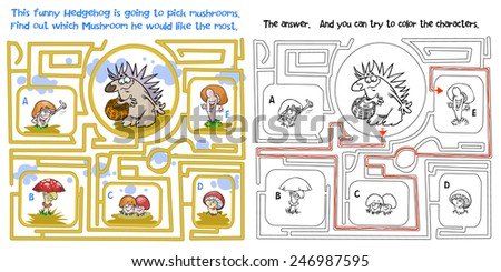 Hedgehog and mushrooms maze game. Raster version with answer included. - stock photo