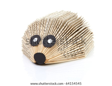 hedgehog made of book by child over white background - stock photo