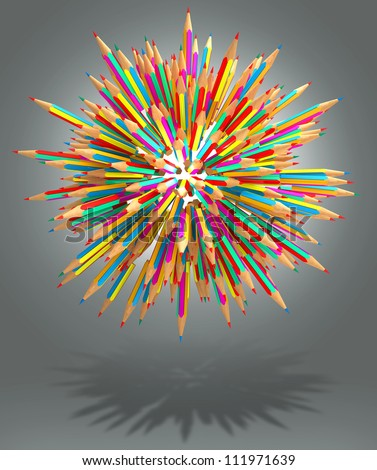 Hedgehog out of pencils, 3d render - stock photo