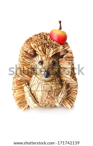 Hedgehog toy with apple - stock photo