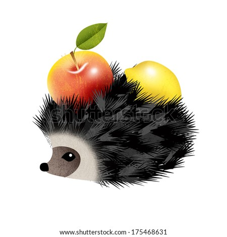 Hedgehog with apple and lemon isolated on white - stock photo