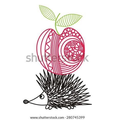 Hedgehog with apple illustration - stock photo