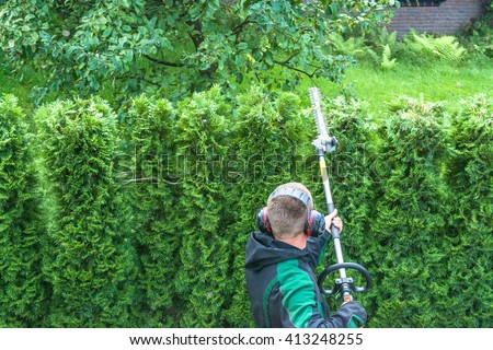 Hedges cutting with gasoline telescopic hedge trimmer. - stock photo