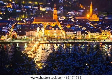 Heidelberg at night, Germany - stock photo