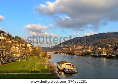 Heidelberg Castle and Old Bridge - stock photo