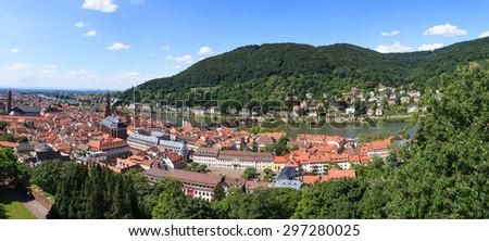 Heidelberg city panorama - stock photo