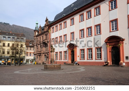 HEIDELBERG, GERMANY - MAR 1: Town square in the old town of Heidelberg. March 1, 2009 in Heidelberg, Germany