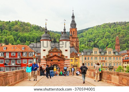 HEIDELBERG, GERMANY - MAY 3, 2013: Karl Theodor Bridge (also known as the Old Bridge) over the Neckar river in old town of Heidelberg