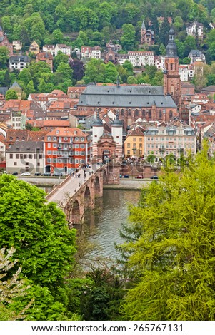 Heidelberg old town in spring, Germany - stock photo