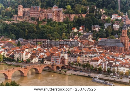 heidelberg's old city from above at day - stock photo