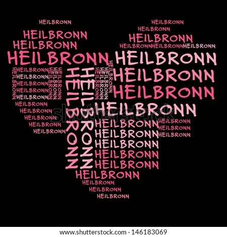 Heilbronn word cloud in pink letters against black background
