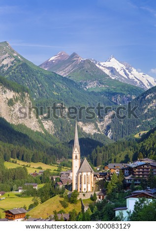 Heiligenblut town under the Grossglockner mountain in Hohe Tauern national park,Austria - stock photo