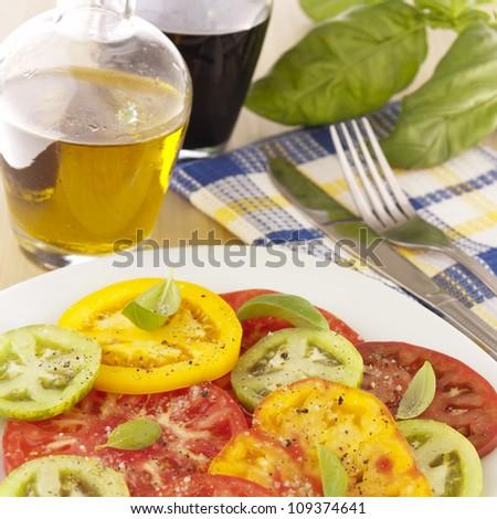 Heirloom tomatoes salad - stock photo