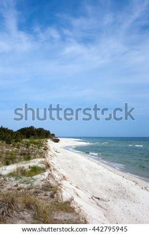Hel Peninsula, white sand beach at the Baltic Sea coast in Poland - stock photo