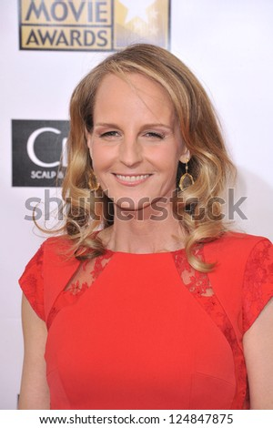 Helen Hunt at the 18th Annual Critics' Choice Movie Awards at Barker Hanger, Santa Monica Airport. January 10, 2013  Santa Monica, CA Picture: Paul Smith - stock photo