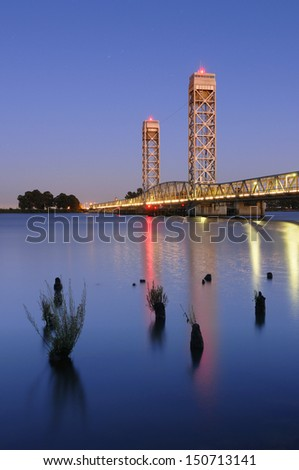 Helen Madere Memorial Bridge over the Sacramento River at Rio Vista, CA. - stock photo