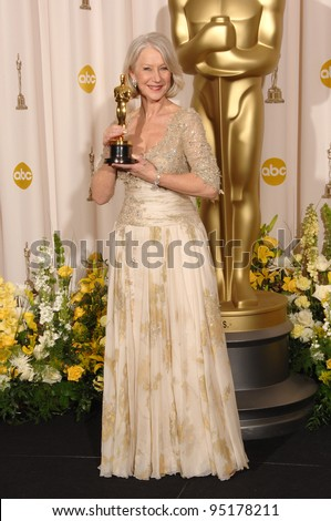 "Helen Mirren - Best Actress winner for ""The Queen"" - at the 79th Annual Academy Awards at the Kodak Theatre, Hollywood. February 26, 2007  Los Angeles, CA Picture: Paul Smith / Featureflash - stock photo"