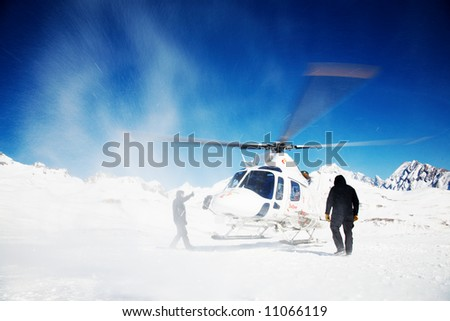 Heli Skiing Helicopter, Mont Blanc ski resort, France, Europe. - stock photo