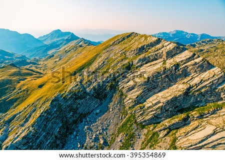 Helicopter aerial photo at Durmitor national park mountain range in the Montenegro continental part. - stock photo