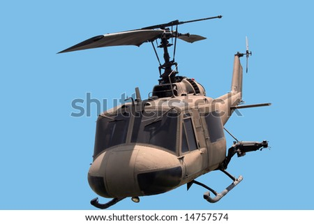 helicopter against a blue sky - stock photo