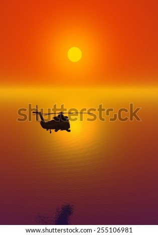 Helicopter at sunset. Fly to the sun. Beautiful sky.  Red glow. crimson decline. Flight over the sea.