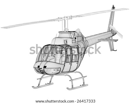 helicopter 3d model on white (high resolution image) - stock photo