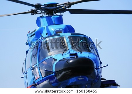 Helicopter, details of cabin and rotor - stock photo