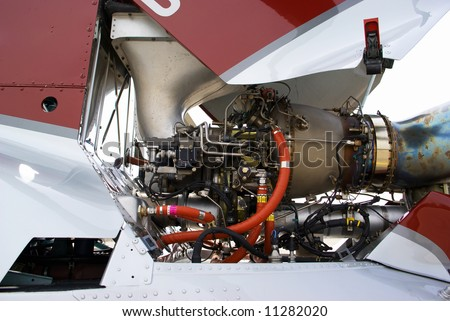 Helicopter engine - stock photo