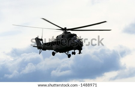 Helicopter in flight - stock photo
