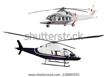helicopter isolated on the white background - stock photo