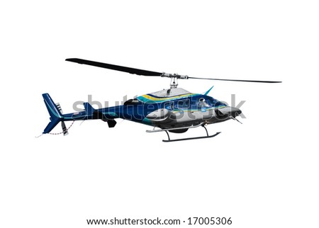 Helicopter isolated on white - stock photo
