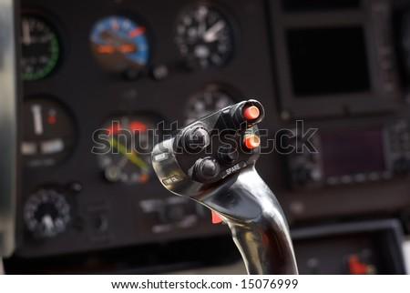Helicopter joystick - stock photo